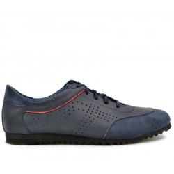Синие кожаные летние кроссовки