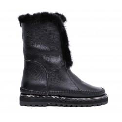 Черные кожаные зимние полусапоги