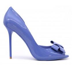 Синие лаковые летние туфли