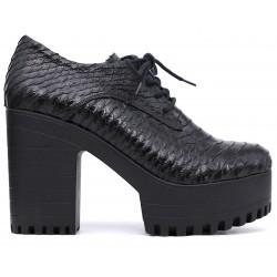 Черные кожаные ботильоны