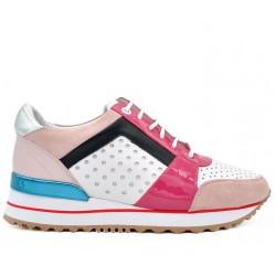 Разноцветные кожаные демисезонные кроссовки