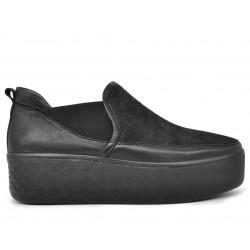 Черные кожаные демисезонные слипоны