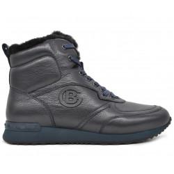 Синие кожаные зимние кроссовки
