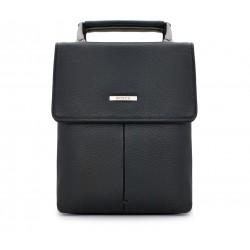 Черная кожаная маленькая мужская сумка
