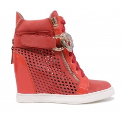 Червоні замшеві літні черевики
