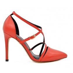 Красные кожаные летние туфли