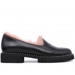 Черные кожаные зимние туфли