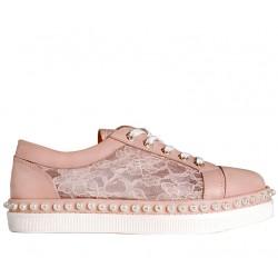 Розовые кожаные летние кеды