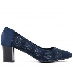 Синие замшевые летние туфли