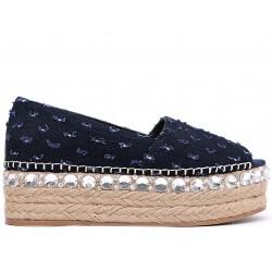 Синие текстильные летние туфли