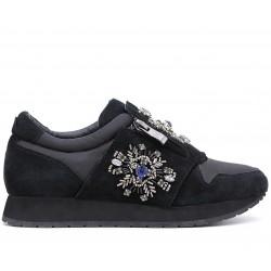 Чорні замшеві демісезонні кросівки