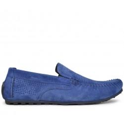 Синие замшевые мокасины