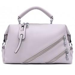 Сіра шкіряна «еко» середня жіноча сумка
