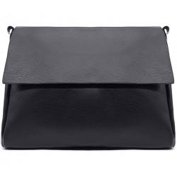 Чорна шкіряна «еко» середня жіноча сумка