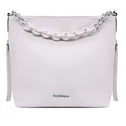 Біла шкіряна «еко» велика жіноча сумка