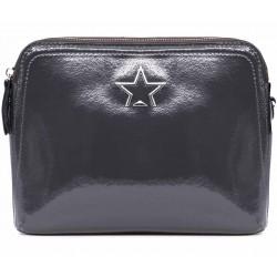 Серая лаковая маленькая женская сумка