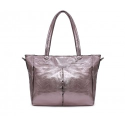 Серебряная кожаная большая женская сумка