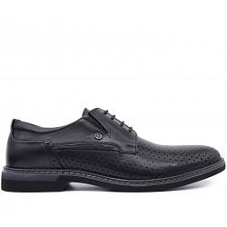 Чорні шкіряні літні туфлі