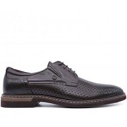 Коричневі шкіряні літні туфлі