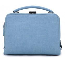 Голубая кожаная маленькая женская сумка