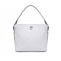 Белая кожаная большая женская сумка