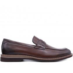 Коричневі шкіряні демісезонні туфлі