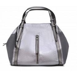 Серебряная  большая женская сумка