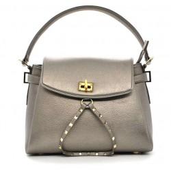 Серебряная кожаная женская сумка