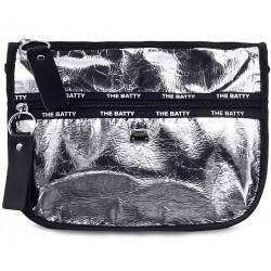 Серебряная кожаная средняя женская сумка