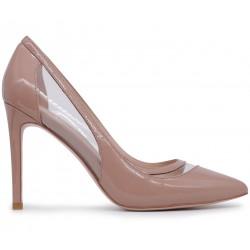 Бежевые лаковые демисезонные туфли