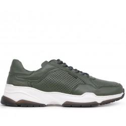 Зеленые кожаные летние кроссовки