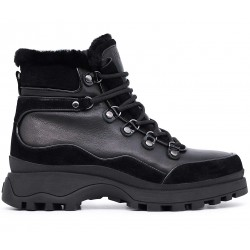 Черные кожаные зимние ботинки