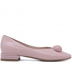 Розовые кожаные демисезонные туфли