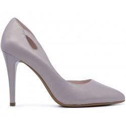 Серые кожаные демисезонные туфли
