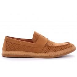 Рыжие нубуковые летние туфли