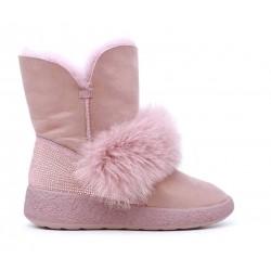Розовые кожаные угги