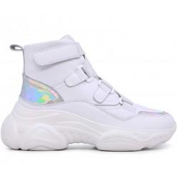 Белые кожаные зимние кроссовки