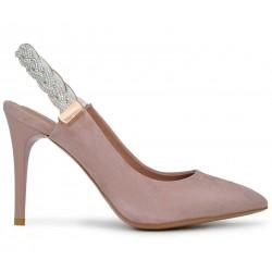 Розовые замшевые летние туфли