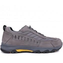 Серые нубуковые демисезонные кроссовки