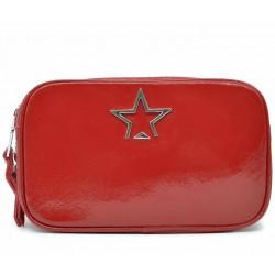Красная лаковая маленькая женская сумка