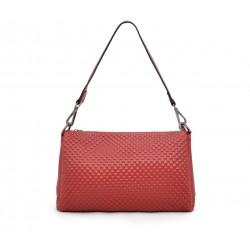 Красная кожаная маленькая женская сумка