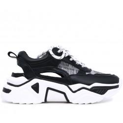 Черные кожаные летние кроссовки