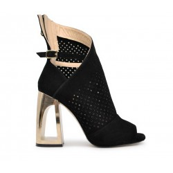 Черные замшевые летние ботинки