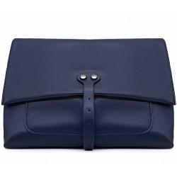 Синяя кожаная средняя женская сумка