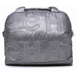 Серебряная текстильная большая женская сумка