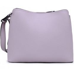Фиолетовая кожаная большая женская сумка