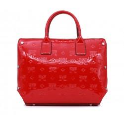 Красная кожаная большая женская сумка