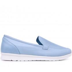 Голубые кожаные летние туфли