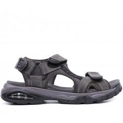 Сірі нубукові сандалі