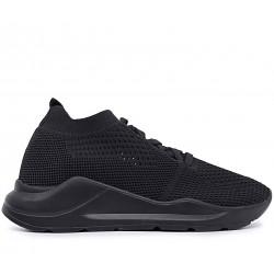 Черные текстильные летние кроссовки